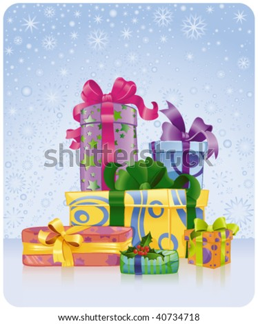 greeting card with Christmas and New Year gifts - stock vector