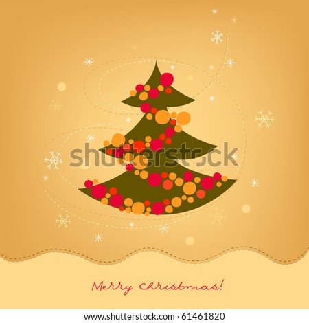 Greeting card with christmas tree - stock vector