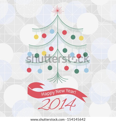 Greeting Card with Christmas Tree and text Happy New Year. Vector Christmas background, bokeh.
