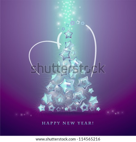 Greeting card with christmas tree made from glittering stars. Vector. - stock vector