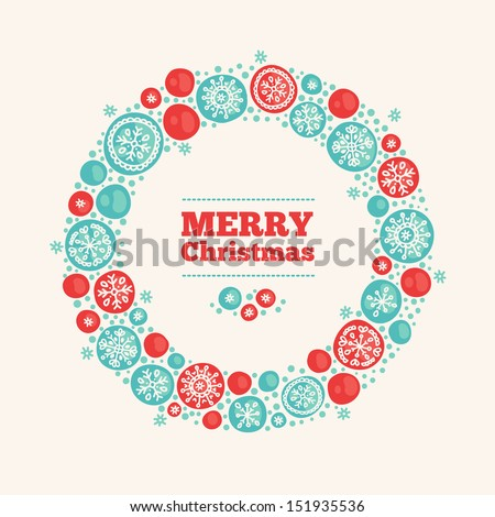 Greeting card with Christmas wreath - stock vector