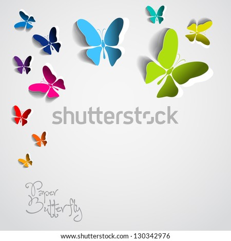 Greeting card with colorful paper butterflies on white background- vector - stock vector