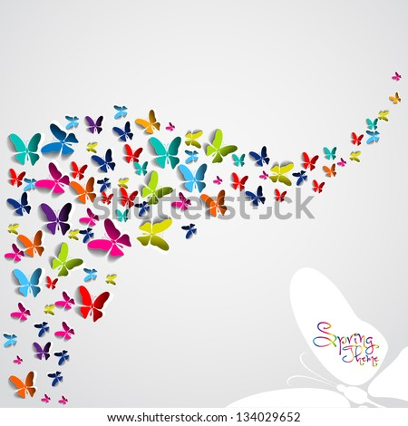 Greeting card with colorful paper butterflies - vector background - stock vector