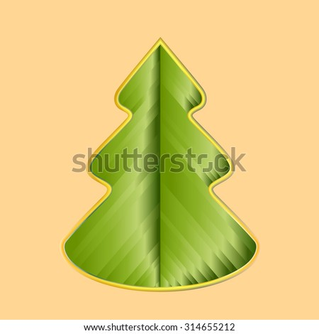 greeting card with creative christmas tree made of ribbons - Christmas Tree Card
