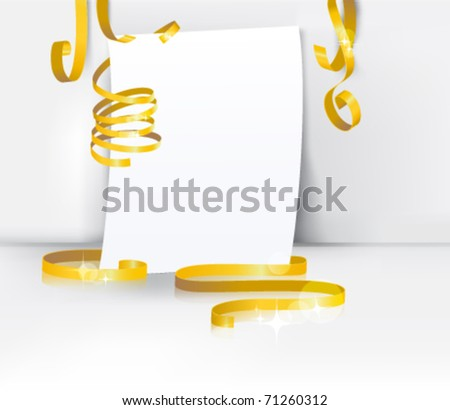 greeting card with curly ribbon: blank paper with golden transparent ribbon against white wall background. eps10 vector template