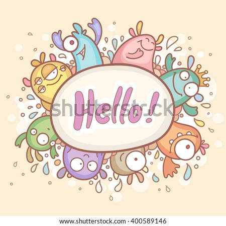 Greeting Card with cute Monsters - stock vector