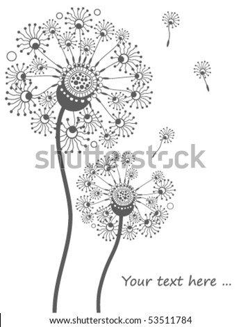 Greeting card with decorative dandelions - stock vector