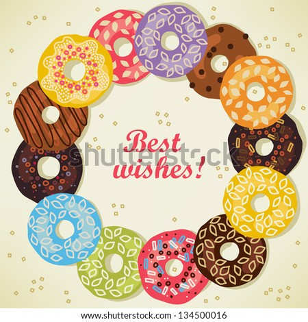 Greeting card with donuts