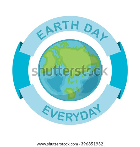 Greeting card with Earth day. April 22 and blue Ribbon.  Globe on white background. Vector illustration