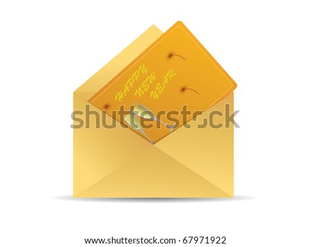 Greeting card with envelope - stock vector