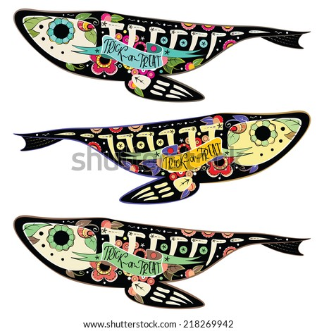 Greeting card with fishes skeletons with floral patterns. Colorfull fishes. Vector illustration  - stock vector