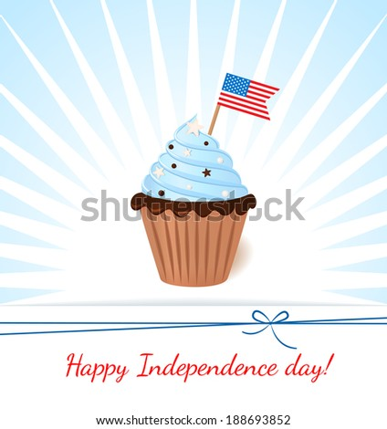 Greeting card with flag. American patriotic themed cupcake for the 4th of July. - stock vector