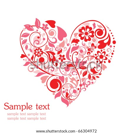 Greeting card with floral heart shape - stock vector