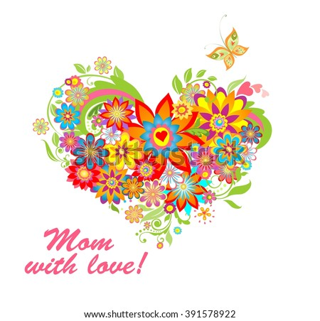 Greeting card with floral heart shape for mothers day - stock vector