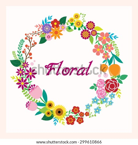 Greeting card with flowers  - stock vector