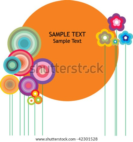 Greeting Card with flowers and graphics