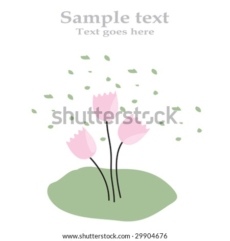 Greeting card with flowers and space for your own text - fully editable - stock vector