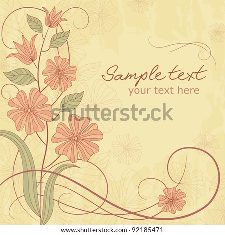 Greeting card with flowers in pastel colors with place for text