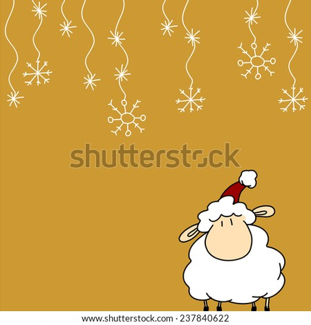 Greeting card with funny little sheep in Santa's hat - stock vector