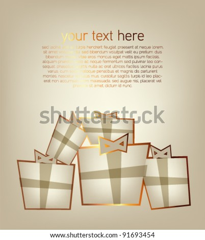 Greeting card with gift boxes / vector design