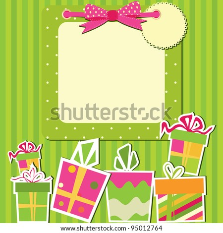 Greeting card with gift boxes. Vector illustration. - stock vector