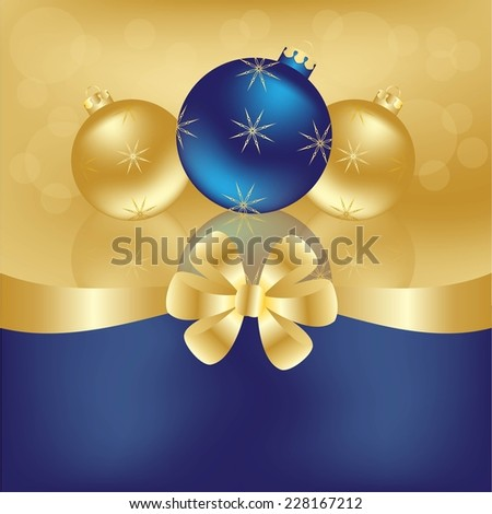 Greeting card with glass balls and ribbon - stock vector