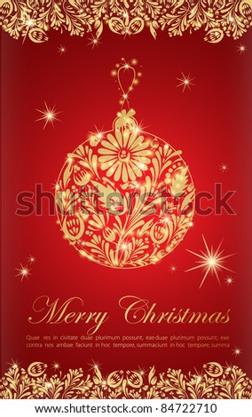 Greeting card with golden abstract new year ball
