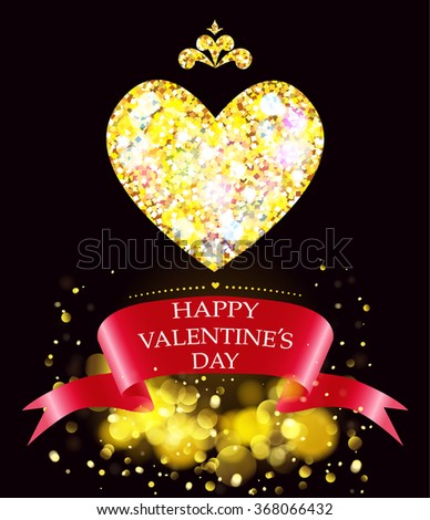 Greeting card with golden heart.Happy Valentines Day. - stock vector