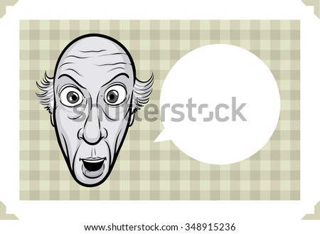 Greeting card with greeting card with shocked bald man face - just add your text - stock vector