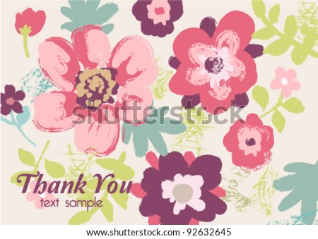 Greeting Card with grunge hand draw floral on background - stock vector