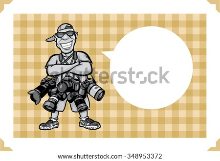 Greeting card with happy photographer with lots of cameras - just add your text - stock vector