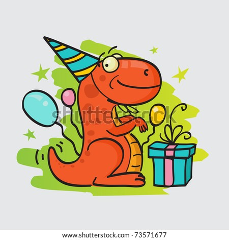 Greeting card with happy smiling dinosaur, present and air balloons - stock vector