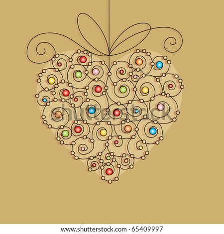 greeting card with heart - stock vector