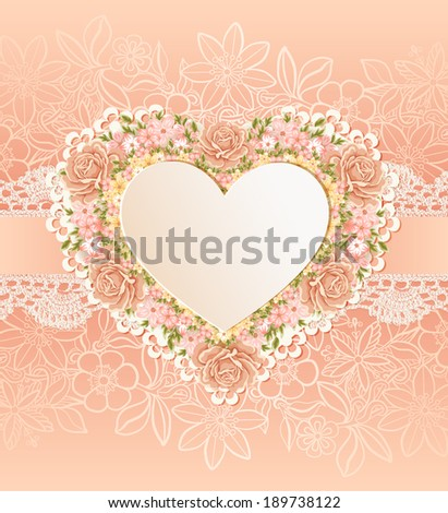 Greeting card with heart shape. Floral background. - stock vector