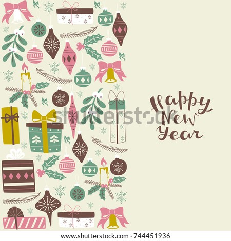 Greeting Card with Lettering and Christmas Elements.