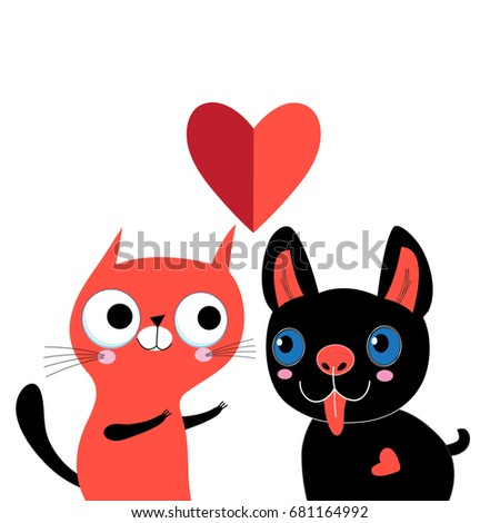 Greeting card with love cat and dog on white background