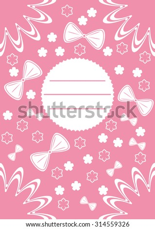 Greeting card with pink and white ornaments and flowers. Vector illustration - stock vector