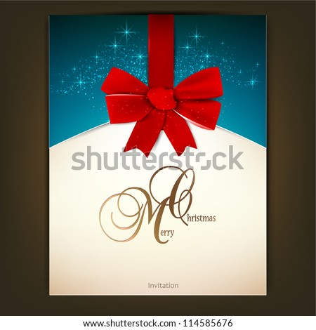 Greeting card with red bow and copy space. Vector illustration - stock vector