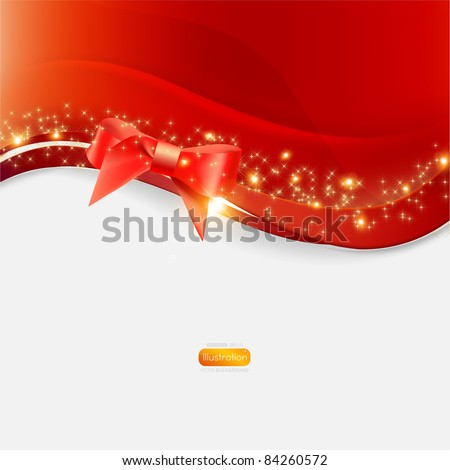 Greeting card with red bow and copy space, vector illustration