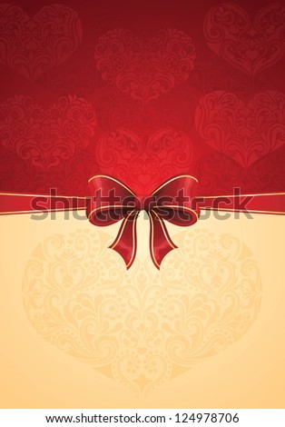 Greeting card with red bow and hearts. Suitable for weddings and Valentine's day. - stock vector