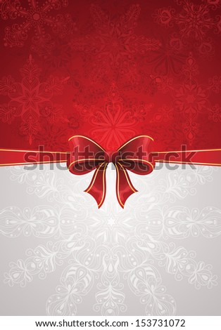 Greeting card with red bow and snowflakes. Suitable for christmas. - stock vector