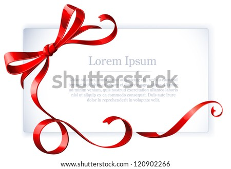 Greeting card with red ribbon and bow. Vector. - stock vector