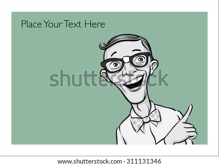 Greeting card with retro geek man - personalize your card with a custom text - stock vector