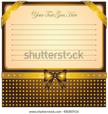 Greeting card with ribbon for invitation or congratulation. Golden vintage background design. - stock vector
