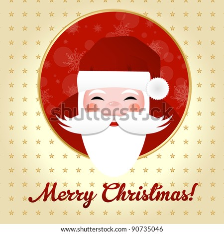 Greeting Card With Santa Claus, Vector Illustration - stock vector