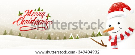 Greeting card with snowman and snowfall, Merry Christmas,vector Illustration - stock vector