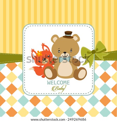 Greeting card with teddy bear and squirrel - stock vector