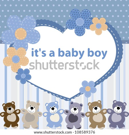 Greeting card with the birth of a baby boy - stock vector