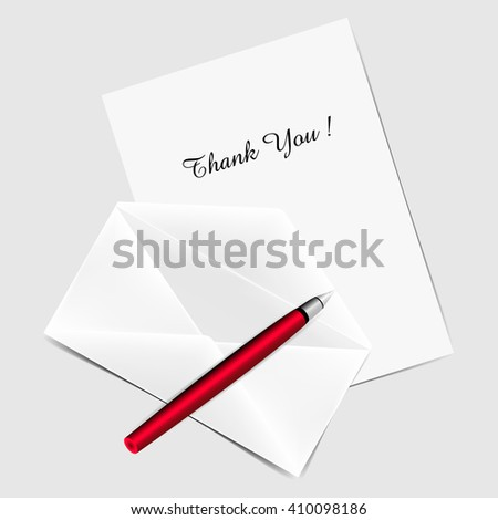 Greeting card with title Thank You, Red pen and white opened envelope. Vector Illustration.