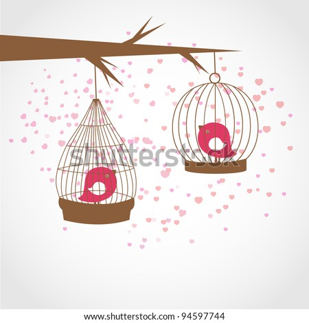 Greeting card with two birds in the cages. Valentines concept